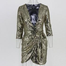 Mini asimetrična preklopna haljina na šljokice