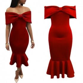 Midi haljina otvorenih ramena s mašnom