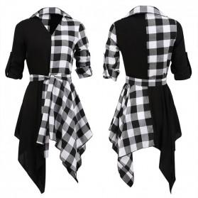 Mini asimetrična karirana dvobojna haljina