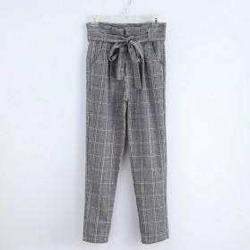 Karirane harem hlače s mašnom