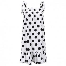 Mini točkasta haljina na volane