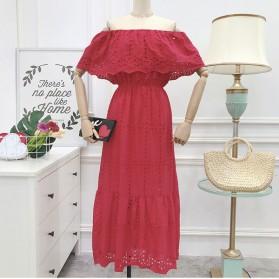 Duga vintage vezena haljina s volanom