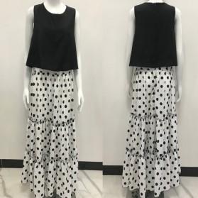 Duga haljina u dva dijela s točkastom suknjom