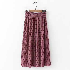 Midi plisirana suknja na točkice s remenom