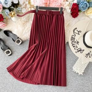 Midi plisirana suknja s remenom 20 boja
