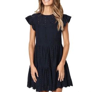 Mini lanenasta haljina s uvezom