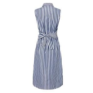 Midi prugasta košulja haljina s kragnom