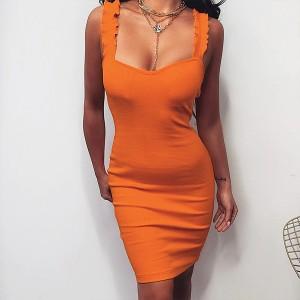 Mini rebrasta haljina s bretalama na sitne volane u dvije boje *Posebna ponuda*