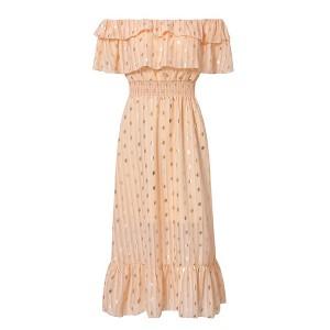 Točkasta haljina otvorenih ramena na volane *limitirana kolekcija*
