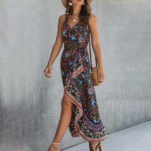 Asimetrična boho pamučna haljina preklopnog izgleda *limitirana kolekcija*