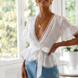 Vezena pamučna bluza preklopnog izgleda *Limitirana kolekcija*