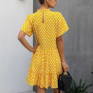 Mini točkasta haljina podignutog ovratnika