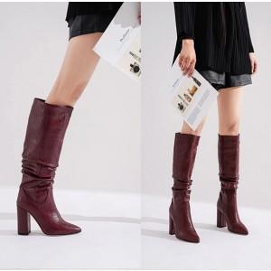 Široke čizme ispod koljena izgleda croco kože 3 boje