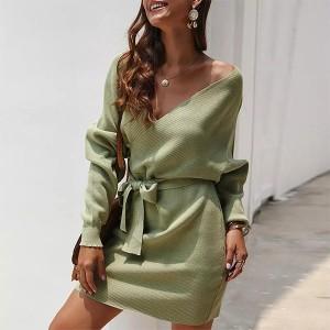 Mini pletena haljina preklopnog izgleda na vezanje 5 boja
