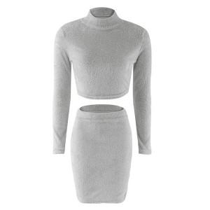 Komplet od dva dijela suknja + top povišenog ovratnika