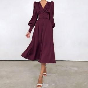 Midi satenasta haljina na dugmad *Limitirana kolekcija*