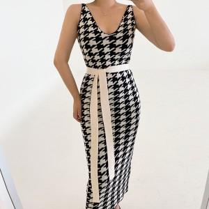 Pleteni set pepita uzorka kardigan + haljina *Limitirana kolekcija*