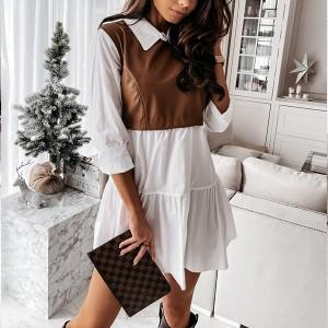 Mini košulja haljina s kožnim dijelom 3 BOJE