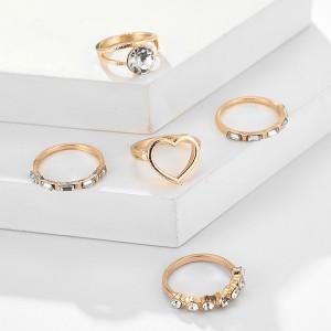 Srce set prstenja od 5 komada