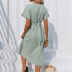 Midi pamučna haljina s naborom