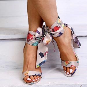 Šarene marama sandale na vezanje oko gležnja 2 BOJE