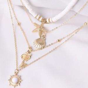Ogrlica od 5 dijelova školjka morska zvijezda palma