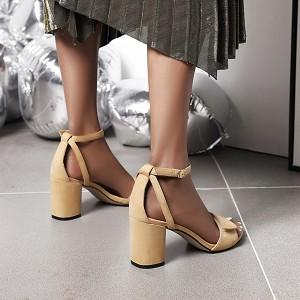 Sandale izgleda brušene kože na stabilnu petu 3 BOJE