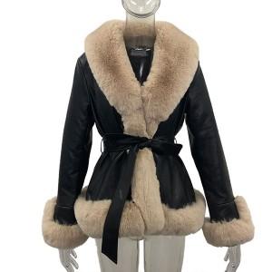 Kratka jakna kožnog izgleda s raskošnim krznom 5 BOJA