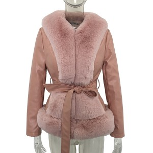 Kratka jakna kožnog izgleda s krznom 4 BOJE