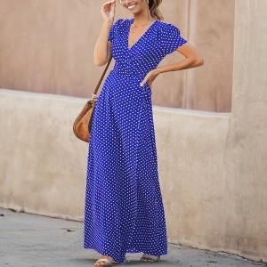 Duga točkasta haljina preklopnog izgleda 4 boje