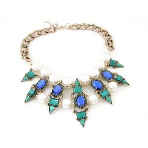 Masivna lanac ogrlica zeleni kristali biseri