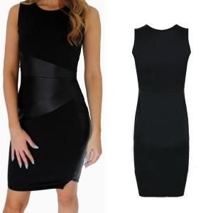 Midi crna bodycon kožna haljina