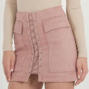 Mini suknja od brušene kože s vezicama