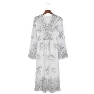 Elegantna midi večernja haljina na šljokice V izrez veličina 2XL