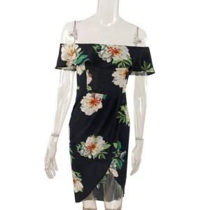 Mini cvjetna off shoulder haljina na preklop