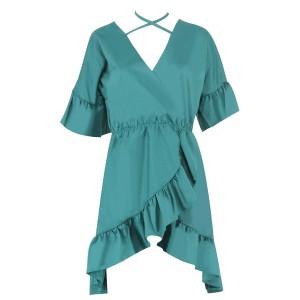 Mini zelena haljina na preklop s volanima