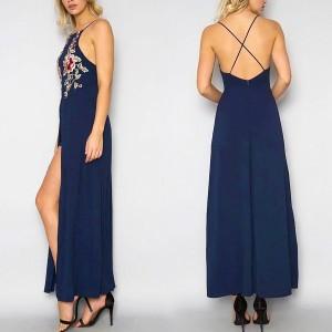 Maxi haljina ukriženih leđa s prorezom