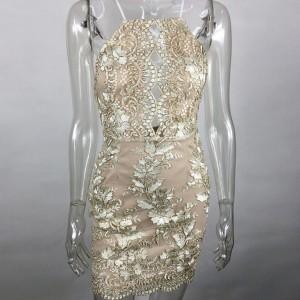 Večernja čipkana mini haljina sa šljokicama otvorenih leđa