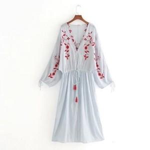 Prugasta uvezena boho haljina
