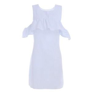 Mini šift haljina otvorenih ramena s volanom