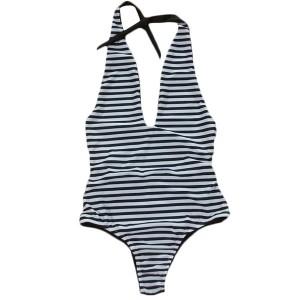 Prugasti jednodijelni kupaći kostim na V izrez