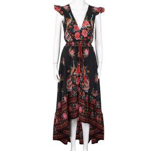 Asimetrična boho haljina s resicama i motivom pauna