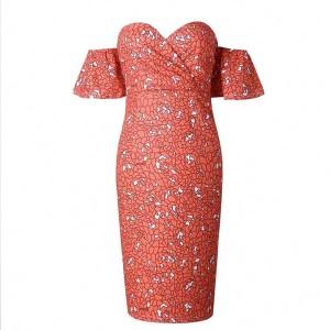 Midi cvjetna haljina olovka kroja otvorenih ramena