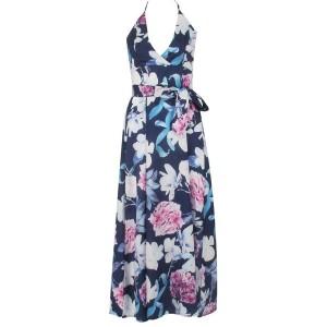 Duga cvjetna haljina otvorenih leđa