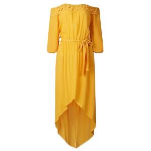 Duga asimetrična haljina s malim volanima