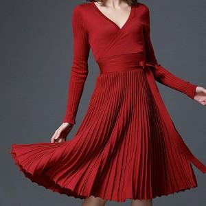 Midi pletena plisirana haljina