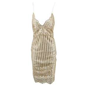 Mini zlatna haljina na bretele sa šljokicama