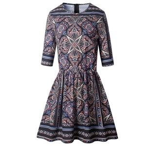 Mini cvjetna haljina 3/4 rukava