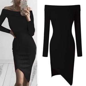 Asimetrična casual haljina otvorenih ramena