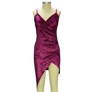 Asimetrična baršunasta party haljina
